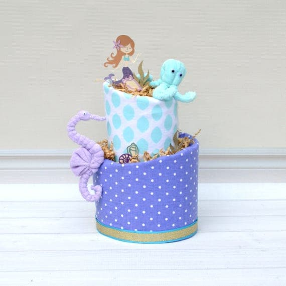 Aqua & Purple Mermaid Baby Cake