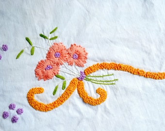 Vintage Pillowcases - Hand Embroidered Pink Yellow Floral - Standard Size Pair