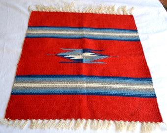 Vintage Ortega's Woven Wool Rug - Small Red Grey Blue Stripe Design