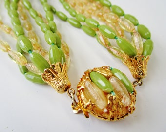 Vintage Green & Gold Necklace 8 Multi Strands 50's Sara Coventry Elongated Beads High End Retro Designer Signed Lucite Runway Statement