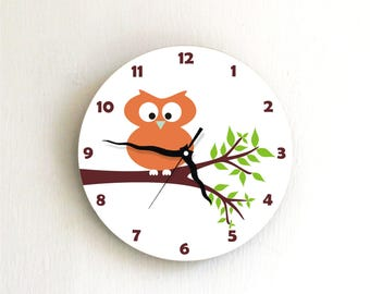 Orange owl Modern wall clock