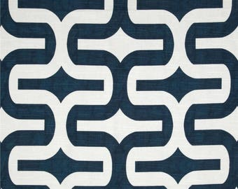 "Embrace, geometric, navy blue and white, Fabric shower curtain, 72"", 84"", 90"", 96"", 108"" custom sizes available"