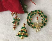 Vintage Holiday Christmas Pins Brooches, Trees, Wreath, Avon Candy Cane Pin 1980s