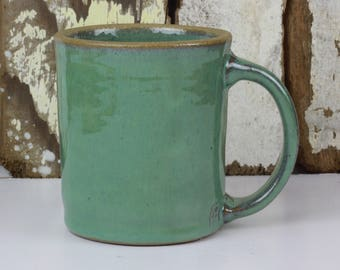 Green Coffee Mug / Tea Cup / Hot Chocolate Mug / 12 Ounce Mug / Sea Green Mug