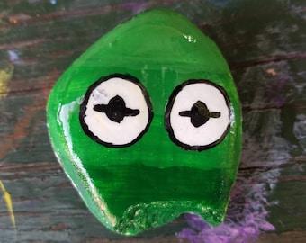 Ombre Kermit Disney Hand Painted Rock