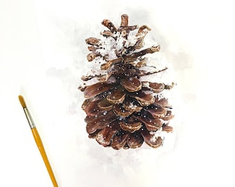 Pine Cone Watercolor Painting- Brown, White- Rustic, Hygge, Winter, Holiday- Botanic Illustration- 12x16- Ready To Ship