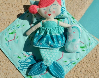 Coral Queen of the Sea Doll Panel