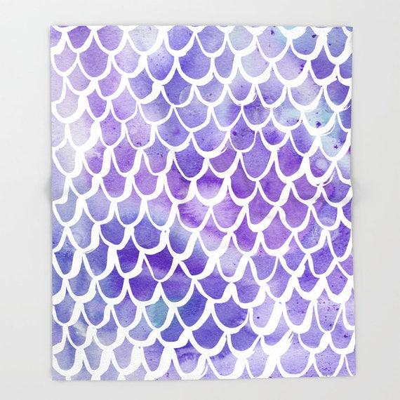 Purple Mermaid Throw Blanket . Mermaid Blanket . Purple Watercolor Throw . Fleece Throw . Fleece Blanket . Mermaid King Blanket . Lavender