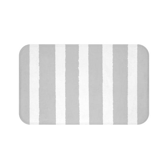 Bath Mat . Silver Bath Mat . Striped Bath Mat . Gray Bath Rug . Grey Shower Mat . Grey Rug . Silver Striped Rug . Gray and White Striped Rug