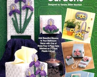 Plastic Canvas Powder Room Gardens Iris Black-Eyed Susans Azaleas Daffodil Tissue Covers Needlepoint Embroidery Craft Pattern Leaflet 993037