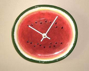 8 Inch Watermelon Clock - Unique Wall Clock, Small Wall Clock, Kitchen Clock, Fruit Clock, Kitchen Decor, Summer Clock, Beach House - 2388