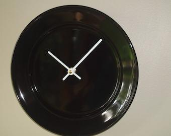 Black Wall Clock, Ceramic Plate Wall Clock, Black and White Clock, Minimalist Wall Clock, Kitchen Clock, Unique Wall Clock - 2398