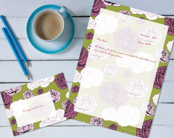 Climbing Roses 'print your own' letter writing paper set