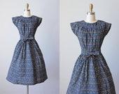 50s Dress - Vintage 1950s Swirl Dress - Blue Black Floral Print Cotton Full Skirt Wrap Dress M L - Treehouse Tea Dress