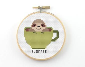 Sloffee cross stitch pattern, coffee cross stitch, coffee pdf pattern, coffee pun pattern, coffee mug pattern, sloth cross stitch