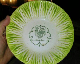 Vintage Southern Pottery Cabbage Rooster Bowl