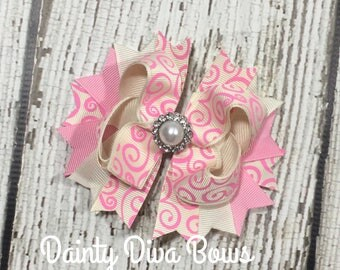 Pink and Cream Bow, Spring Bow, Easter Bow, Toddler Bow, Hair Bow, Ready to Ship, Pink Hair Bow, Pink and Cream Hair Bow