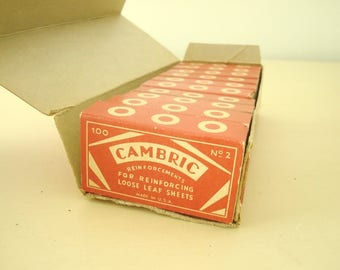Vintage Loose Leaf Reinforcements, 10 boxes Cambric Brand, art deco stationery supply, antique stationery supply, vintage office accessory