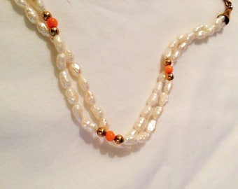 Fresh Water Pearl and Angel Skin Coral Necklace - Gold Beads - Two Strands