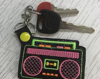 Retro 80s Boom Box Key Fob
