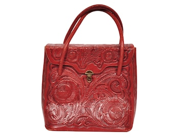 Vintage 1950s Tooled Red Leather Handbag - Red Leather Purse - Large Size