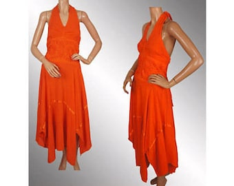 Vintage 1970s Halter Dress Orange Cotton -  Handkerchief Hem  M