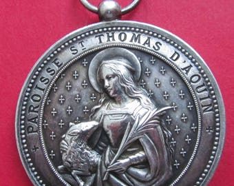 Saint Agnes With A Lamb Silver Antique Religious Medal Virgin Mary French Catholic Pendant Jewelry  SS253