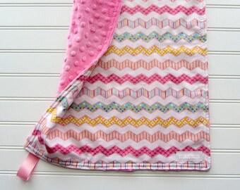 Pink Zig Zag Minky Lovey Blanket, Baby Girl Security Blanket, Baby Girl Shower Gift, Soft Newborn Minky Lovey, Small Pink Minky Lovey