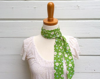 Green Floral Skinny Scarf, Head Scarf, Hair Wrap, Neck Tie for Women, Long Thin Scarf, Headband, Choker Scarf, Head Wrap, Summer Scarf
