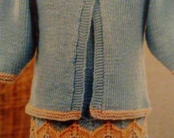 Hand knitted girls skirt and cardi set