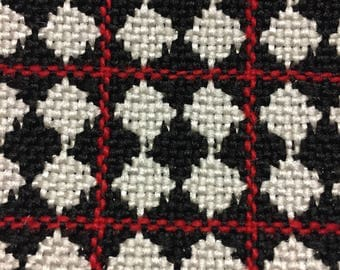50'S Car Buff's Classic Upholstery // Black, White Diamond Woven Frise in Red Square