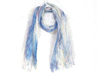 Cobweb Felted Blue Scarf, Handmade Wool Winter Scarf, Blue White, Long Womens Scarf, Winter Fashion Accessory, OOAK Gift for Her For Mom
