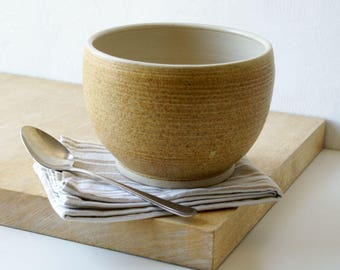 Handmade stoneware serving bowl - wheel thrown bowl in natural brown and simply clay