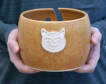 Made to Order - The cat yarn bowl, hand thrown custom pottery yarn bowl