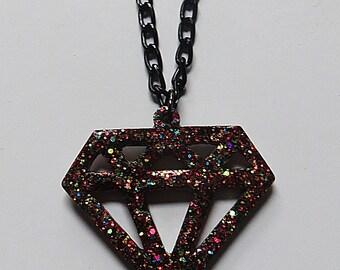 Sparkling small multi-colored glitter diamond necklace