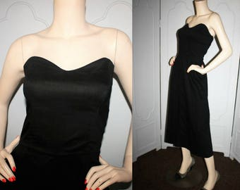 Vintage 50's Strapless Cotton Dress in Black with Sweetheart Neckline. Small to Medium.