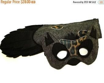 BLACK FRIDAY SALE Children's Safari Animal Hyena Felt Mask and Tail Set