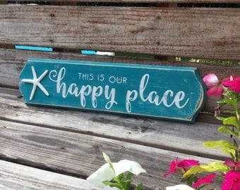 Beach Sign with starfish Happy Place Coastal and Nautical Decor