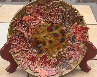 Fall Leaf Plate 10 inch Stoneware Lace texture Fall Colors