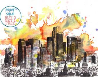 Los Angeles  Skyline Art Print Poster From Original Watercolor Painting 13 x 19 Los Angeles Art Print