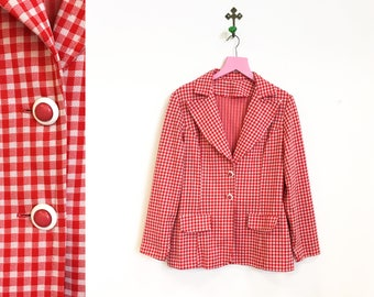 Vintage 1970s Red and White Gingham Jacket/ Blazer Size M-L