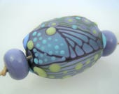 Moogin Beads- Detailed abstract oval lampwork / glass bead set   - SRA