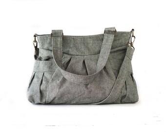 SALE Crossbody bag in light grey canvas, messenger purse convertible bag over the shoulder bag - Elessa bag