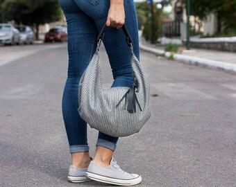 Hobo bag in grey patterned wool and black leather, slouch shoulder purse everyday bag - Mini Kallia bag
