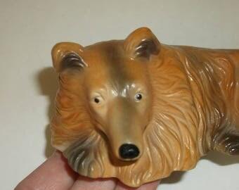 Vintage Porcelain Collie Dog Figurine.. Lassie Dog..1970s