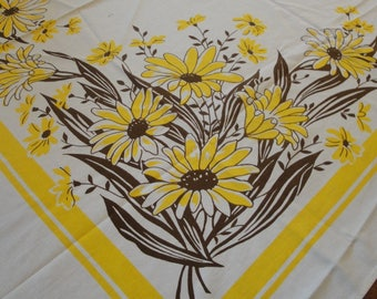 Vintage Cotton Table Cloth Daisies Yellow Brown 52 X 47