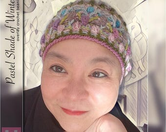 Pastel Shade of Winter – colourful overlay crochet beanie, winter beanie, textured beanie, pastel colours