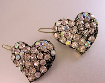 SALE & FREE SHIPPING Two Heart Shaped Rhinestone Hair Clips in Gold Tone Metal Vintage Jewelry