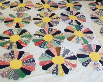 20 Pieced Fabric Flowers, 1940s, 1950s, quilting, supplies