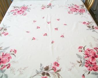 Vintage Linen Tablecloth, Pink, Floral